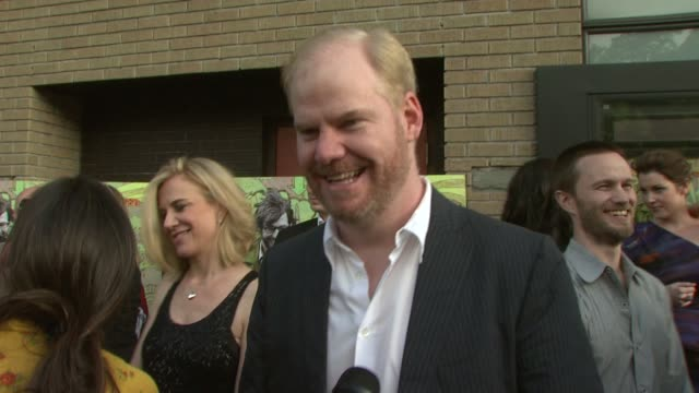 jim gaffigan talking about coming from a comedic background, on rehearsing with other cast members and being directed by sam mendes, coming from a... - sam mendes stock videos & royalty-free footage