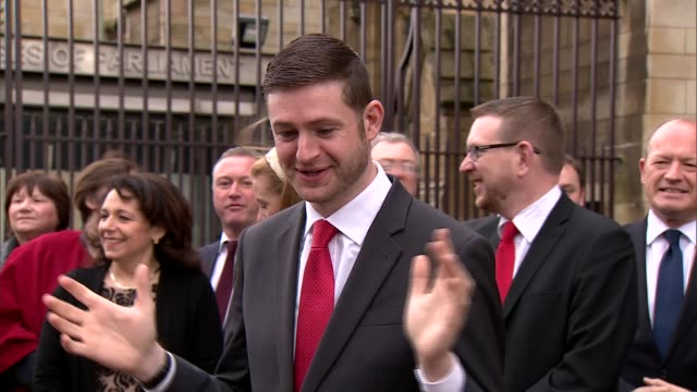 jim mcmahon welcomed to westminster by jeremy corbyn; england: london: westminster: ext jim mcmahon mp chats with other labour mps / john mcdonnell... - mp stock videos & royalty-free footage