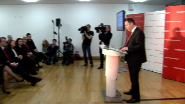 jim murphy elected leader of scottish labour party announcement and cutaways scotland glasgow photography*** gvs jim murphy and other candidates... - douglas alexander stock videos & royalty-free footage
