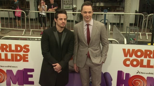 jim parsons and casper smart at the home los angeles premiere at regency village theatre on march 22 2015 in westwood california - jim parsons stock videos and b-roll footage