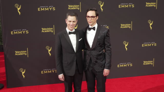 jim parsons and todd spiewak at the 2019 creative arts emmy awards day 2 at microsoft theater on september 15 2019 in los angeles california - jim parsons stock videos and b-roll footage