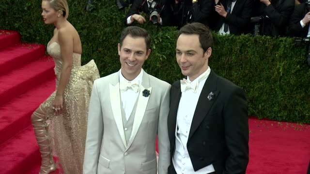 jim parsons at charles james beyond fashion costume institute gala arrivals at the metropolitan museum on may 05 2014 in new york city - jim parsons stock videos and b-roll footage