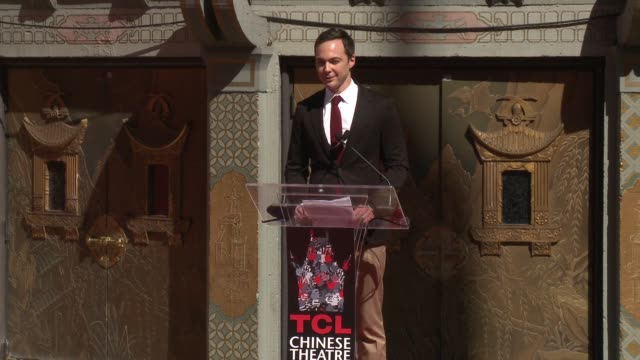 speech jim parsons at jeffrey katzenberg to place handprints footprints in cement at tcl chinese theatre imax on september 29 2016 in hollywood... - jim parsons stock videos and b-roll footage