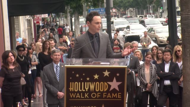 speech jim parsons at jim parsons honored with star on the hollywood walk of fame in hollywood ca on - jim parsons stock videos and b-roll footage