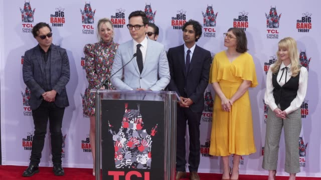 "jim parsons at the cast of ""the big bang theory"" honored with hand and footprint ceremony at tcl chinese theatre on may 01, 2019 in hollywood,... - cast member stock videos & royalty-free footage"