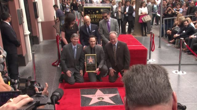 jim parsons chuck lorre jeffrey katzenberg and tom labonge at jim parsons honored with star on the hollywood walk of fame in hollywood ca on - jim parsons stock videos and b-roll footage