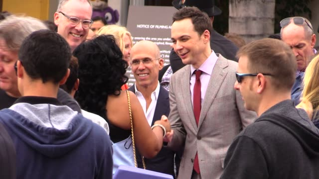 jim parsons jeffrey katzenberg at the home premiere in westwood in celebrity sightings in los angeles - jim parsons stock videos and b-roll footage