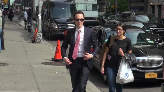 jim parsons poses for photographers outside of the late show with david letterman in celebrity sightings in new york - jim parsons stock videos and b-roll footage