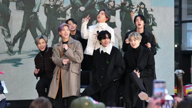 "jimin, jungkook, rm, j-hope, v, jin, and suga of the k-pop boy band bts visit the ""today"" show at rockefeller plaza on february 21, 2020 in new york... - pop music stock videos & royalty-free footage"