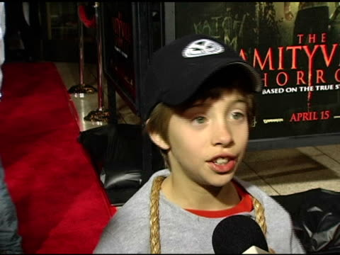 jimmy bennet on his outfit at the premiere, liking horror films, being part of a scary movie, his character in film, working with ryan reynolds and... - virginia madsen stock videos & royalty-free footage