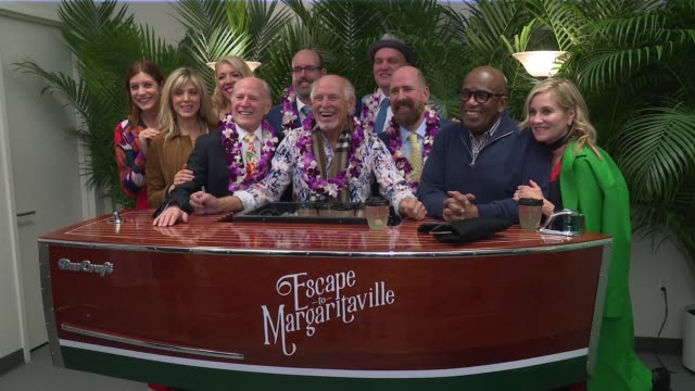 jimmy buffett and friends at cast of escape to margaritaville celebrate broadway opening at marquis theatre on march 15, 2018 in new york city. - al roker stock videos & royalty-free footage