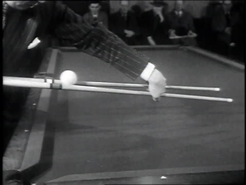 jimmy caras balancing cue ball on sticks / caras sinking pool balls with two cues - cue ball stock videos & royalty-free footage