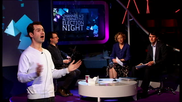 jimmy carr during rehearsals for 'channel 4's alternative election night' programme with david mitchell and channel 4 news reporter cathy newman in... - cathy newman stock-videos und b-roll-filmmaterial