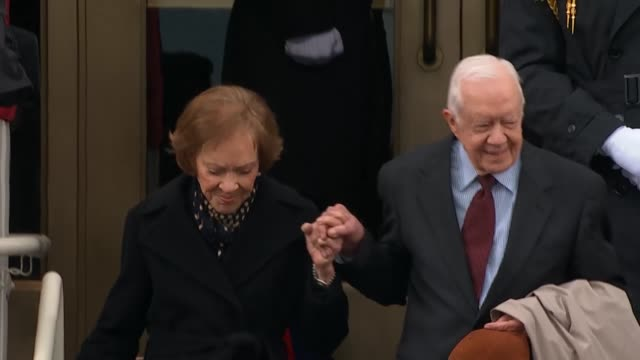 jimmy carter and wife rosalynn carter arrive at the capitol for donald trump's inauguration. - jimmy carter us president stock videos & royalty-free footage