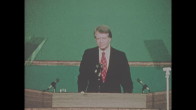 jimmy carter at the 1976 democratic convention at madison square garden in new york city from july 12 to july 15 1976 sound only available over... - präsident stock-videos und b-roll-filmmaterial