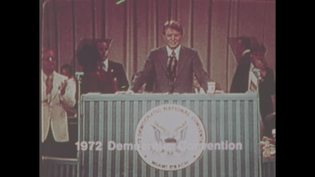 jimmy carter at the democratic convention held at miami beach convention center in miami beach florida on july 10 – 13 1972 no sound available - präsident stock-videos und b-roll-filmmaterial