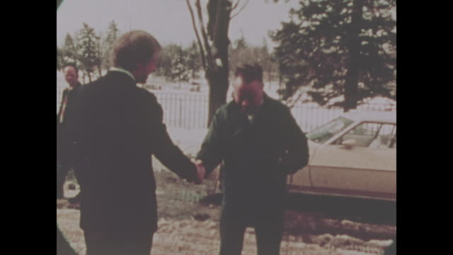 jimmy carter greets people on the campaign trail in 1974 no sound available - jimmy carter präsident stock-videos und b-roll-filmmaterial
