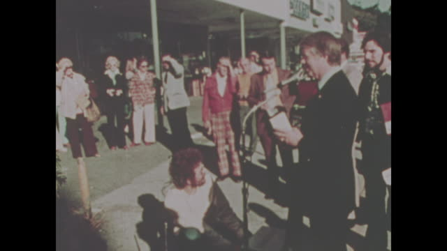 jimmy carter greets people on the campaign trail in florida in 1974 no sound available - präsident stock-videos und b-roll-filmmaterial