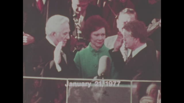 jimmy carter is sworn in as president and takes the oath of office no sound available - präsident stock-videos und b-roll-filmmaterial