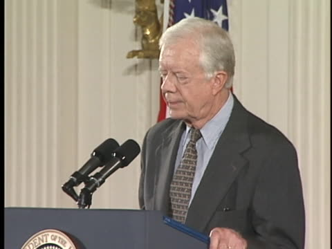 jimmy carter makes the case for trade with china - permanent normalized trade relations - pntr - with gerald ford and bill clinton - jimmy carter us president stock videos & royalty-free footage