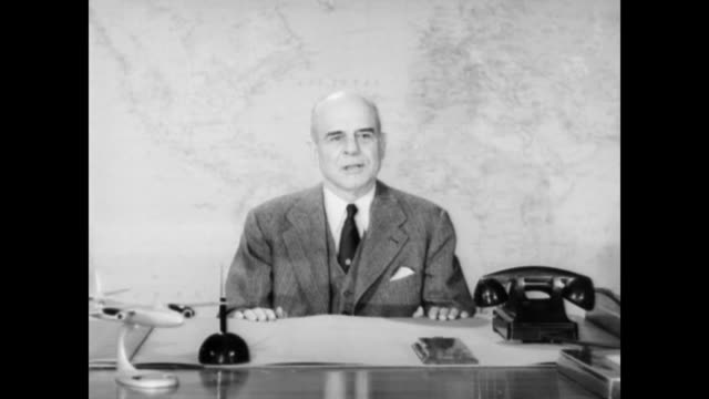 jimmy doolittle seated at desk talking about nonstop transcontinental flights and crossing the american continent on two occasions james 'jimmy'... - 1953 stock videos and b-roll footage