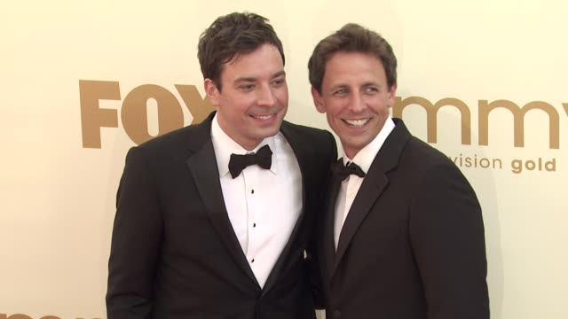 jimmy fallon and seth meyers at the 63rd primetime emmy awards arrivals part 2 at los angeles ca - jimmy fallon stock videos and b-roll footage
