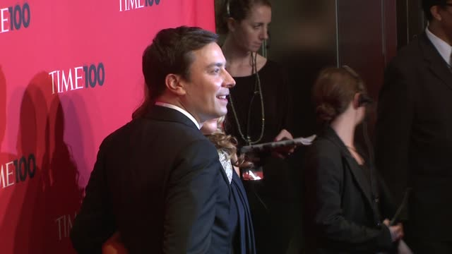 jimmy fallon and wife nancy juvonen at the time 100 gala celebrating the 100 most influential people in the world at new york ny - jimmy fallon stock videos and b-roll footage