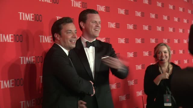 jimmy fallon and willie geist at 2013 time 100 gala arrivals at frederick p rose hall jazz at lincoln center on april 23 2013 in new york new york - jimmy fallon stock videos and b-roll footage