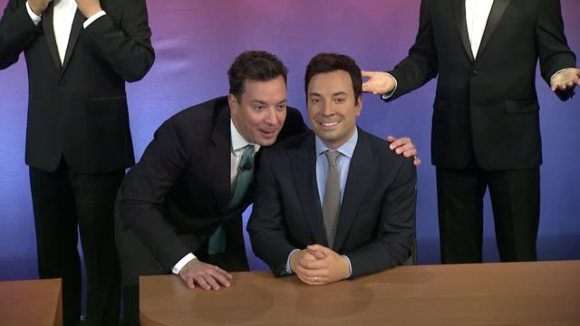 jimmy fallon at madame tussauds and jimmy fallon debut five wax figures at madame tussauds ny at madame tussauds on march 27 2015 in new york city - jimmy fallon stock videos and b-roll footage