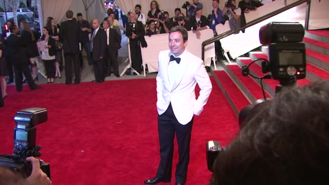 jimmy fallon at the 'american woman fashioning a national identity' met gala arrivals at new york ny - jimmy fallon stock videos and b-roll footage