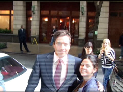 jimmy fallon greets his fans as he arrives at 'live with regis kelly' in new york 05/23/11 - jimmy fallon stock videos and b-roll footage