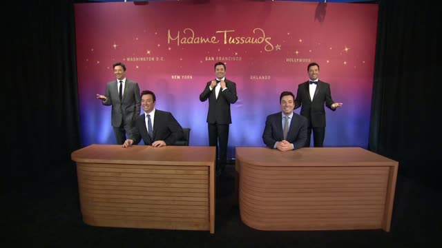 jimmy fallon wax figure at madame tussauds and jimmy fallon debut five wax figures at madame tussauds ny at madame tussauds on march 27 2015 in new... - jimmy fallon stock videos and b-roll footage