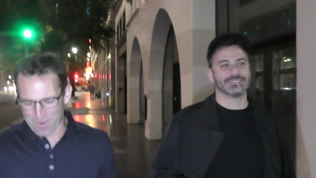 jimmy kimmel & adam perry lang leave dinner at apl restaurant in hollywood in celebrity sightings in los angeles, - jimmy perry stock videos & royalty-free footage