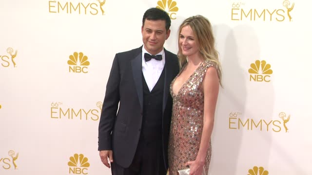 jimmy kimmel and molly mcnearney 66th primetime emmy awards arrivals at nokia theatre la live on august 25 2014 in los angeles california - jimmy kimmel stock videos and b-roll footage
