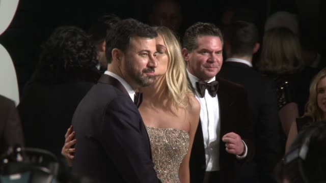 jimmy kimmel and molly mcnearney at 2017 vanity fair oscar party hosted by graydon carter on february 26 2017 in beverly hills california - jimmy kimmel stock videos and b-roll footage