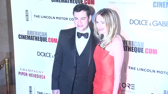 jimmy kimmel and molly mcnearney at the 28th american cinematheque award honoring matthew mcconaughey at the beverly hilton hotel on october 21 2014... - american cinematheque stock videos & royalty-free footage