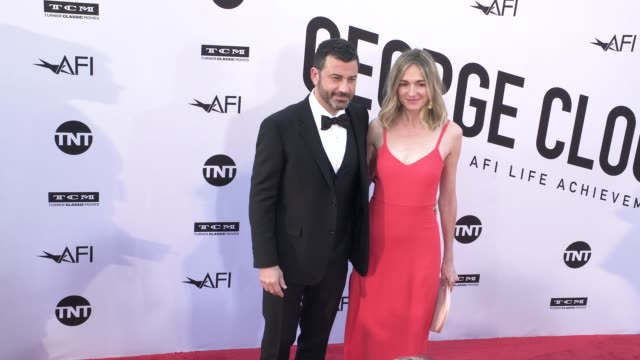 Jimmy Kimmel and Molly McNearney at the American Film Institute Honors George Clooney With 46th AFI Life Achievement Award at Dolby Theatre on June...