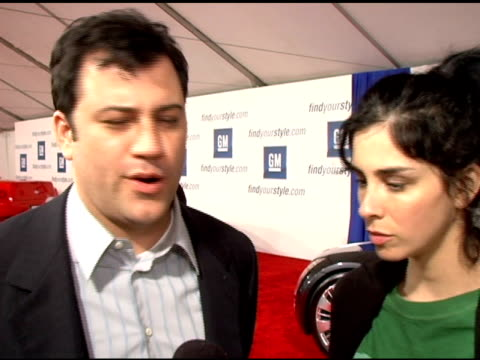 stockvideo's en b-roll-footage met jimmy kimmel and sarah silverman at the 4th annual 'ten' fashion show presented by general motors arrivals and interviews at pavilion in... - sarah silverman