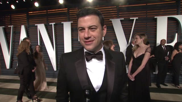 interview jimmy kimmel at the 2015 vanity fair oscar party hosted by graydon carter at the wallis annenberg center for the performing arts on... - wallis annenberg center for the performing arts stock videos and b-roll footage