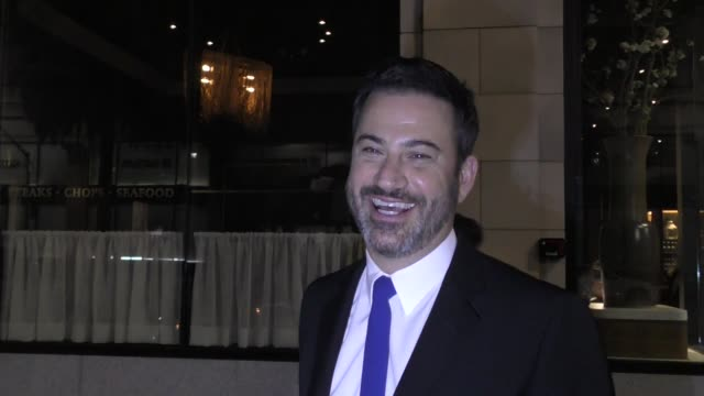 interview jimmy kimmel discusses mean tweets outside apl restaurant in hollywood in celebrity sightings in los angeles - jimmy kimmel stock videos and b-roll footage