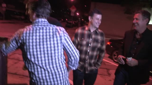 jimmy kimmel friends meet up with yehya mohamed at craigs in westwood in celebrity sightings in los angeles - jimmy kimmel stock videos and b-roll footage