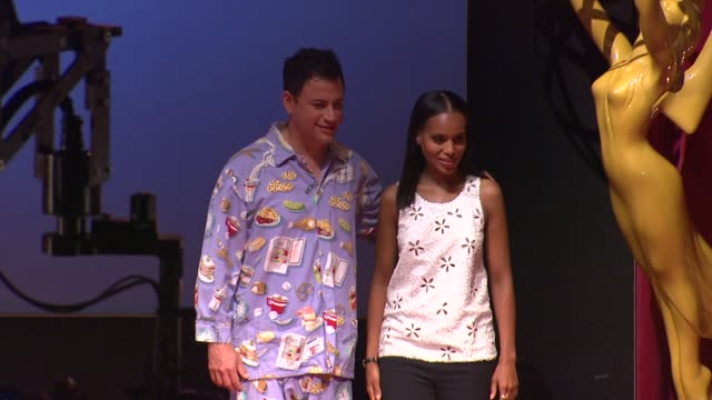 jimmy kimmel & kerry washington at the 64th primetime emmy awards nominations announcement, north hollywood 07/19/12 - emmy awards nominations stock videos & royalty-free footage
