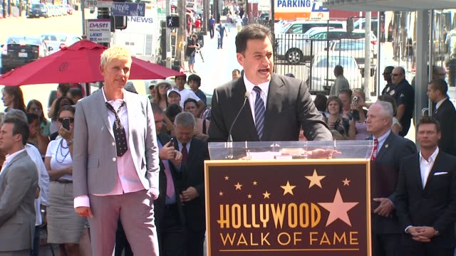 jimmy kimmel on his admiration for ellen degeneres and on her friendly nature at ellen degeneres honored with star on the hollywood walk of fame... - ellen degeneres stock-videos und b-roll-filmmaterial