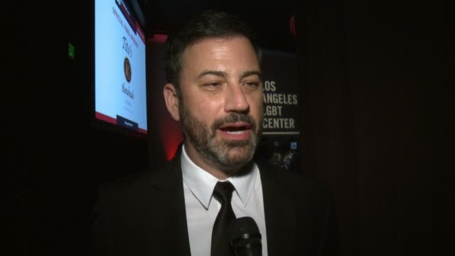 stockvideo's en b-roll-footage met interview jimmy kimmel on why he wanted to host the events why the lgbt center is so important at los angeles lgbt center's 48th anniversary gala... - anniversary gala vanguard awards