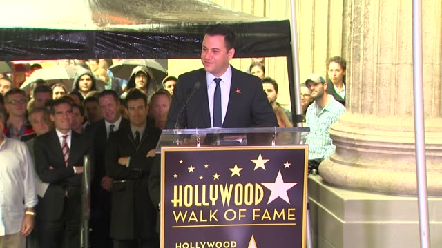 stockvideo's en b-roll-footage met jimmy kimmel thanks his many friends and colleagues at jimmy kimmel honored with star on the hollywood walk of fame in hollywood, ca, on 1/25/13. - jimmy kimmel