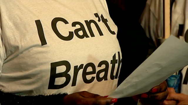 adrienne makenda kambana press statement england london photography*** adrienne makenda kambana along from court with others wearing 'i can't breath'... - i can't breathe stock videos & royalty-free footage