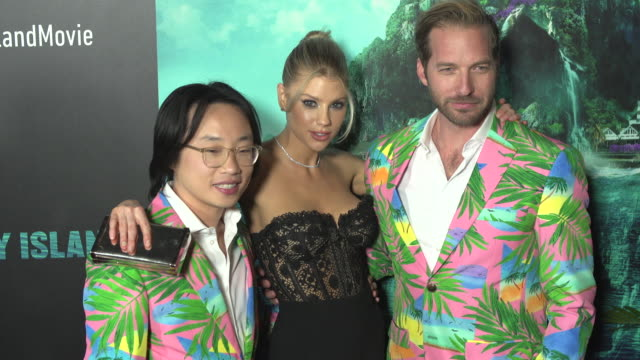 jimmy o yang charlotte mckinney and ryan hansen at the blumhouse's fantasy island premiere at amc century city 15 theater on february 10 2020 in... - century city stock videos & royalty-free footage