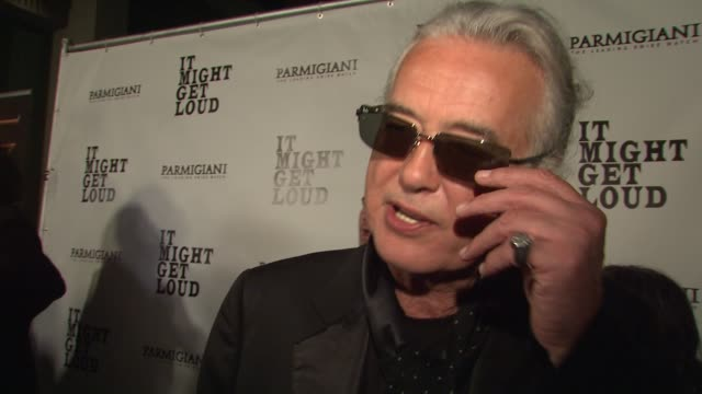 jimmy page on what attracted him to this project working with the edge and jack white his relationship with his guitar at the 'it might get loud'... - david 'the edge' howell evans stock videos and b-roll footage
