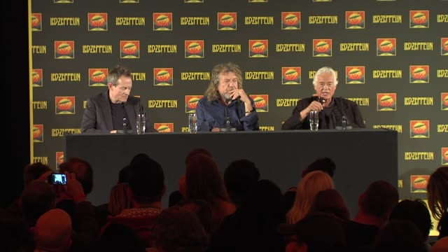 vidéos et rushes de jimmy page, robert plant, john paul jones on what rock and blues means to them now at led zeppelin celebration day press conference on september 21,... - rock moderne