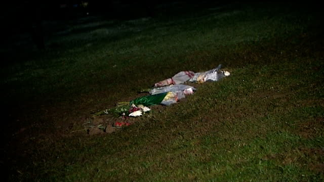 headstone removed / bbc to hold independent inquiry england north yorkshire scarborough bouquets of flowers on grass at grave of jimmy savile day... - 英国スカーブラ点の映像素材/bロール